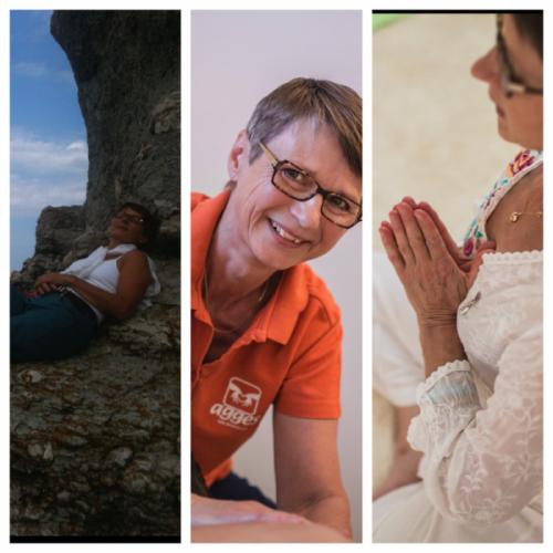 Tre bilder av Agge; Gotland, massage och yoga
