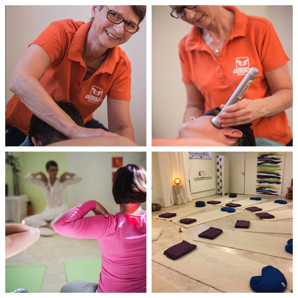 fyra bilder med massageterapi, laserterapi och yoga